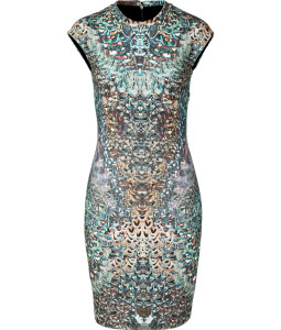 Alexander Mcqueen, feather pattern dress, LE 2,790, available at Villa Baboushka